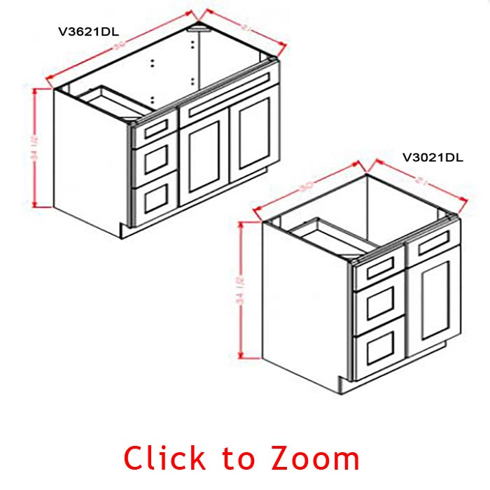 Vanity Combo Bases - Drawers Left